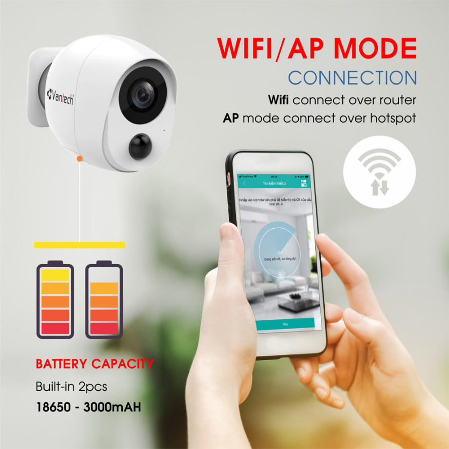 Vantech Camera Wifi VP-B7300PIR